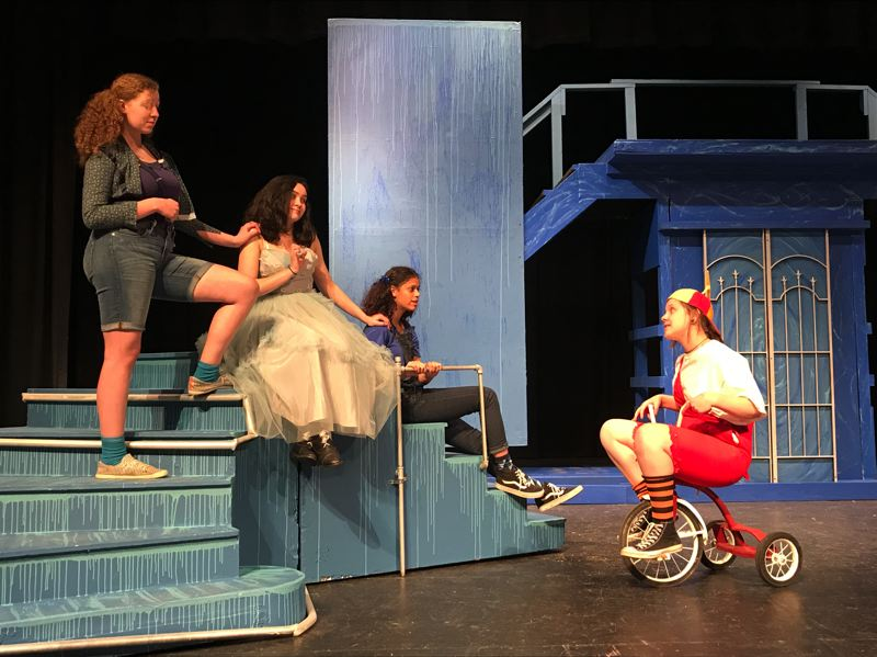 COURTESY PHOTO - Pictured here, the characters of The Three Stones played by Katie Pletsch, Savannah Mogray, and Jazryana Nickerson-Fernandez, address the Lord of the Underworld, played by Zoie Gentry, in the spring production of Eurydice by Sarah Ruhl.