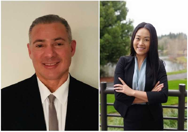 Bart Rask, left, is challenging See Eun Kim in this spring's race for Hillsboro School Board.