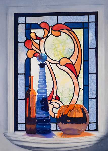 This is another Mary Elle painting, a watercolor of a glass object in front of a stained glass window.