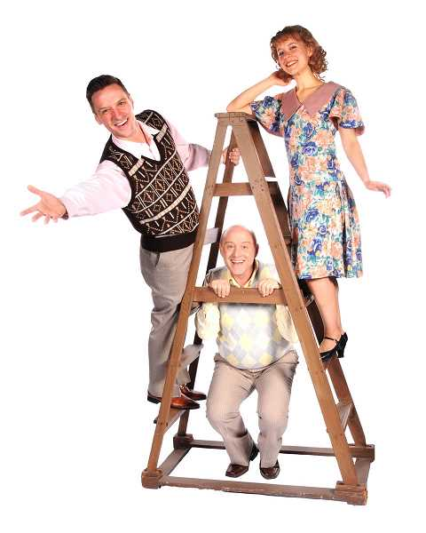 Singin in the Rain runs through June 9 on the Headlee Mainstage at Lakewood Center for the Arts. Pictured are from left John David Scott, Dennis Corwin and Catherine Olson.