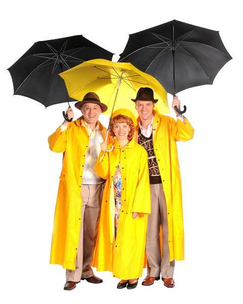 Pictured from left are Dennis Corwin, Cathering OIson and John David Scott in Lakewood Theatre Companys production of Singin in the Rain, opening April 26 and continuing through June 9.