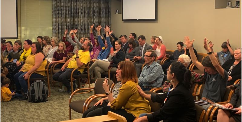 COURTESY PHOTO: AUBREY WIEBER/OREGON CAPITAL BUREAU - Opponents at a Wednesday, April 24, committee meeting raise and flutter their hands to silently show alliance with witnesses testifying on House Bill 3063, which would end nonmedical exemptions to vaccines.