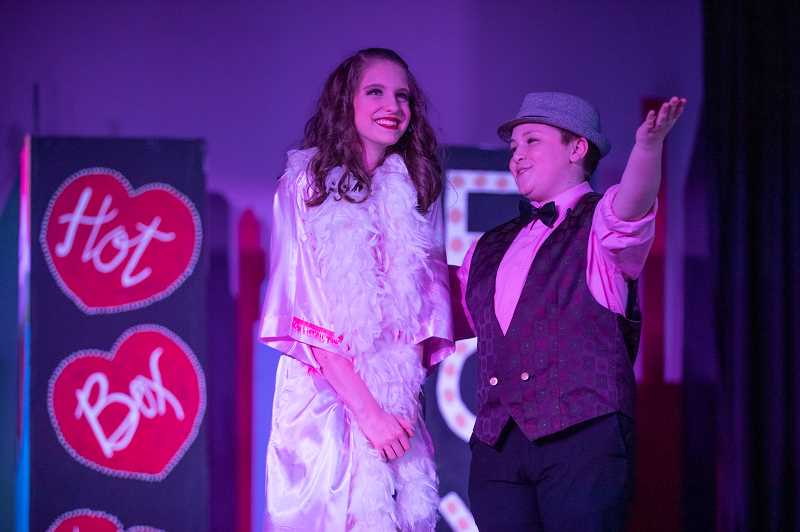 PMG PHOTO: JONATHAN HOUSE - Alli Jaffe plays Adelaide and Brody Amberg plays Nathan in the Lakeridge Junior High production of Guys and Dolls.