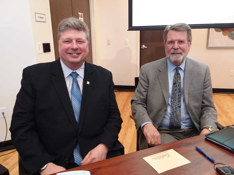 TIMES PHOTO: RAY PITZ - Tualatin Mayor Frank Bubenik and commentator Eric Schmidt pose for a photo following the mayors first state-of-the-city speech.