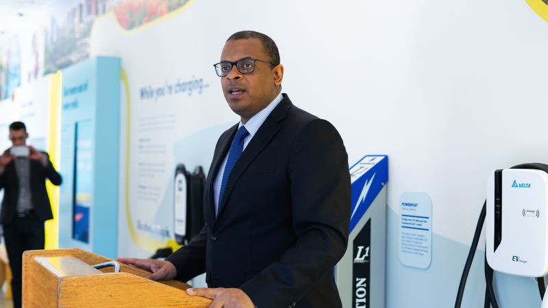 COURTESY LYFT - Speaking at the press conference was Anthony Foxx, former President Obama's secretary of the Department of Transportation, currently Lyft's chief policy officer and advisor to its co-founders.