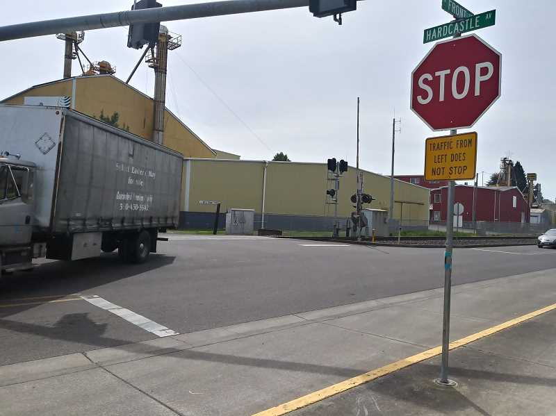 PMG PHOTO: JUSTIN MUCH - Realignment of the Hardcastle Avenue at Front Street will make the intersection safer for vehicles turning north onto Front and pedestrians crossing. Left turns from Hardcastle onto Front Street northbound are especially tricky.
