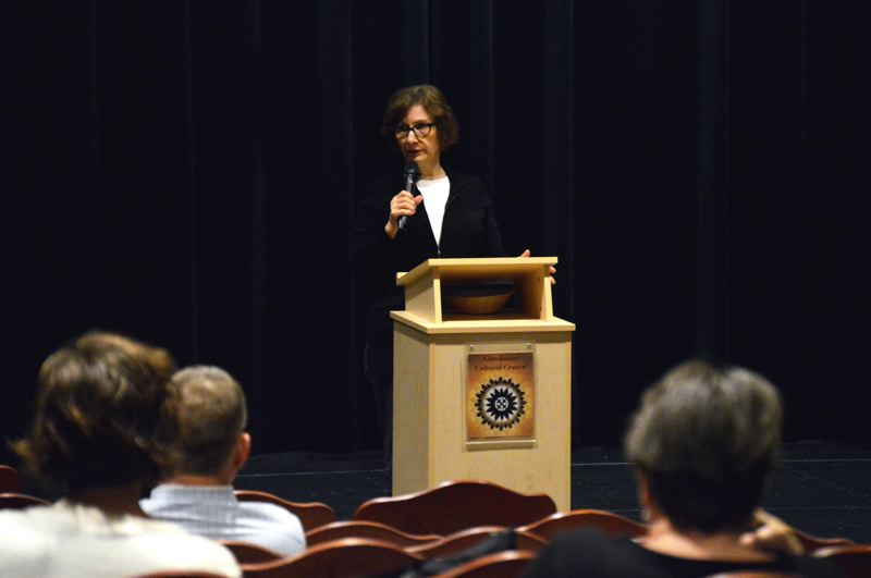 PMG PHOTO: NICOLE THILL-PACHECO - U.S. Rep. Suzanne Bonamici speaking during a town hall event at the Clatskanie Cultural Center on Wednesday, April 2.