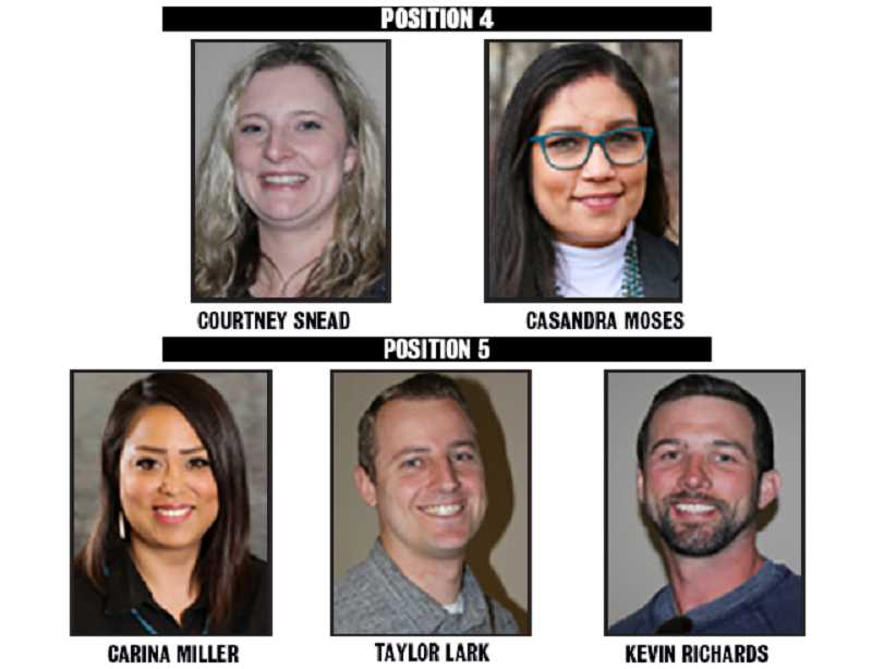 SUBMITTED AND MADRAS PIONEER PHOTOS - Five people are seeking two seats on the 509-J School District Board of Directors.