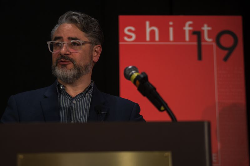 PHOTO: BRIT FORBES - AIA Oregon Executive Vice-President Robert Hoffman introduces Shift19.
