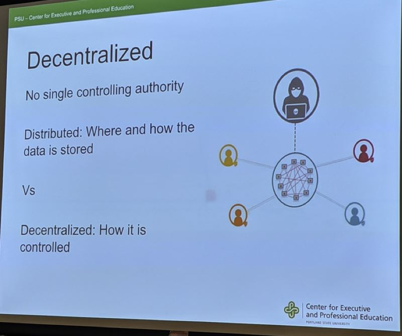 PMG PHOTO: JOSEPH GALLIVAN - Scary hackers in hoodies have no chance in a decentralized network. Anything they change is instantly viewable by all nodes or members.