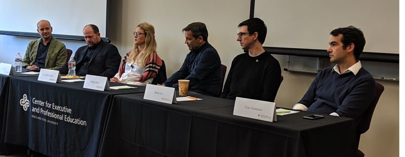 PMG: JOSEPH GALLIVAN  - Blockchain brain trust (l-r) Jonathan Bradley R/GA Ventures, Michael Reed of Intel, Kate Mitselmakher the CEO, Founder and General Partner of Bloccelerate VC, Issac Hines of Sila, Brian Lio CEO of Smith + Crown and  attorney Tyler Harkness of Tonkon Torp LLP.