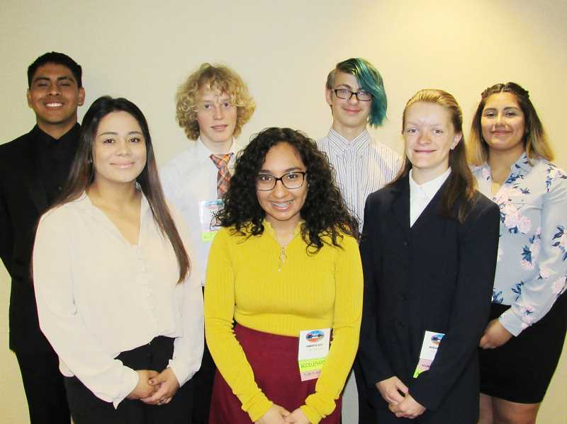 SUBMITTED PHOTO - FBLA State Leadership Confernce attendees include, from left to right, Erik Vega, Natalie Sanchez, Jake Horat, Samantha Nieto, Zephen Wilkinson, Morgan Brandon and Stephanie Alvarado.