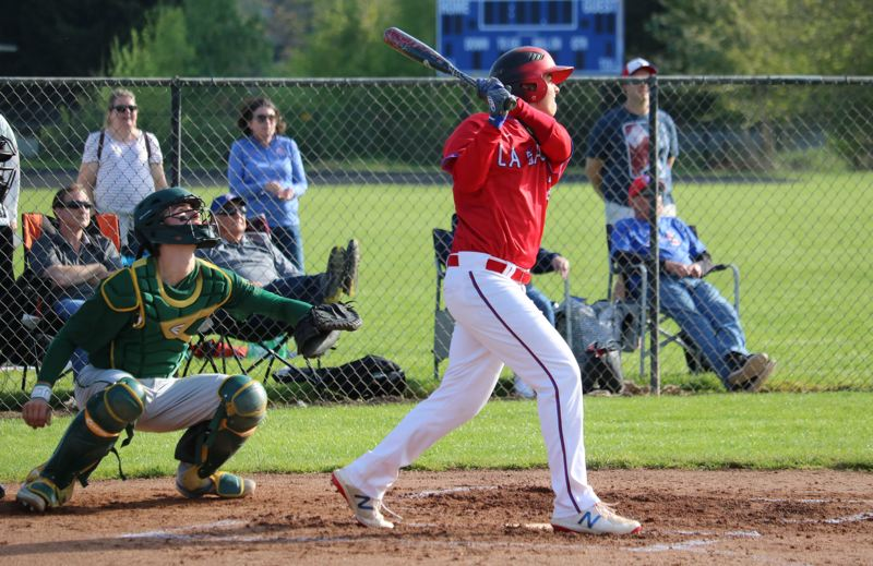 PMG PHOTO: JIM BESEDA - La Salle Prep's Perry Collman went 3 for 3 with a double and an RBI, leading the Falcons to a 10-2 win over Putnam in Friday's rubber game of their three-game NWOC series with the Kingsmen.