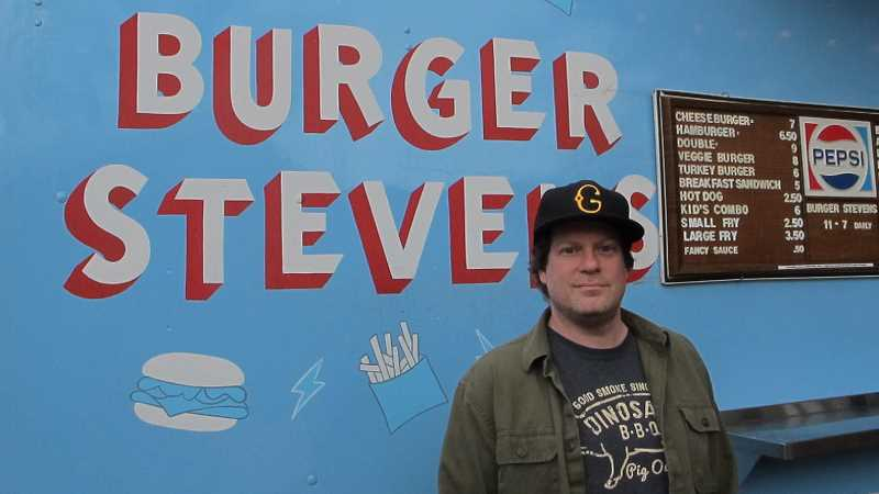 PMG PHOTO: BILL GALLAGHER - Don Salamone, proprietor of three Burger Stevens food carts in Portland, first served his highly-praised burgers at the Hillsdale Food Cart Park near Wilson High School.