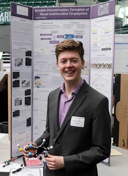 COURTESY PHOTO - Nathan Tidball placed first for his project on a plastic that kills bacteria.