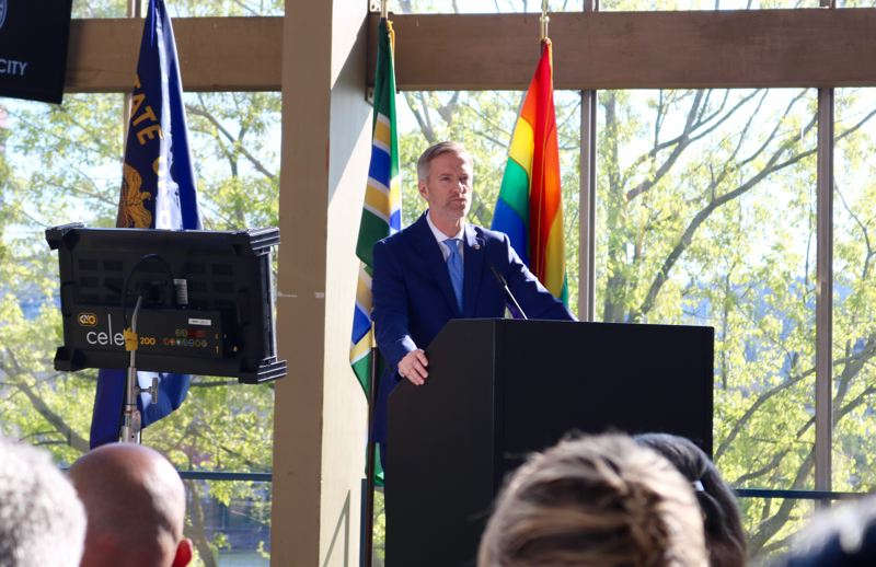 PMG PHOTO: ZANE SPARLING - Portland Mayor Ted Wheeler speaks during his 2019 State of the City speech on Monday, April 29 at Veterans Memorial Coliseum.