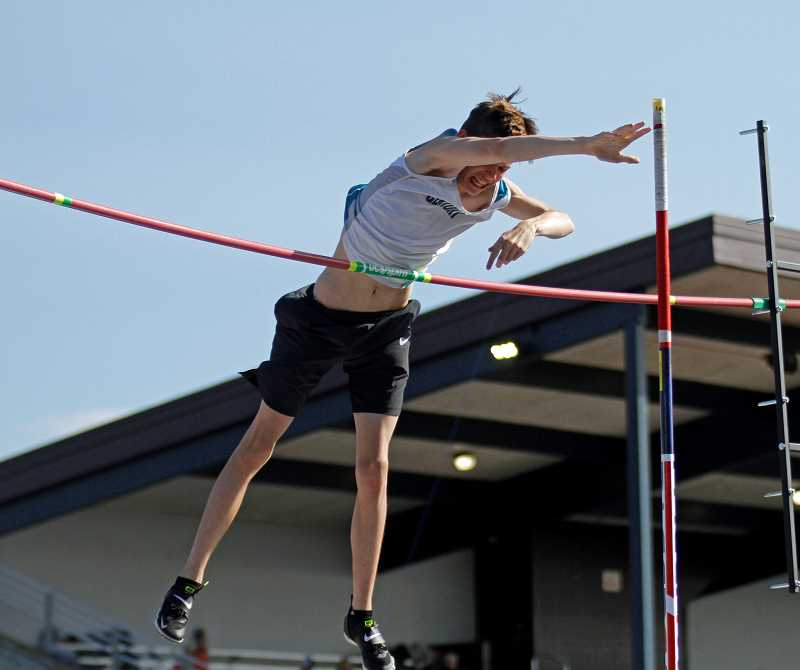 PMG PHOTO: WADE EVANSON - Century's Jimmy Shafer clears a height during the pole vault event at last week's Elden Kellar Invitational Friday, April 26, at Hare Field.