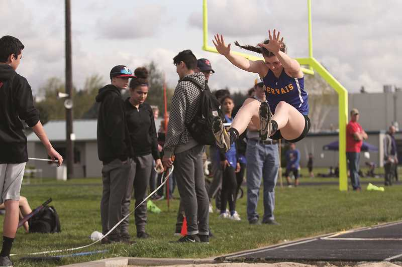 PMG PHOTO: PHIL HAWKINS - Gervais sophomore Katie Hanson won a pair of events, setting a new PR of 15-09 in the long jump and placing first in the 800.