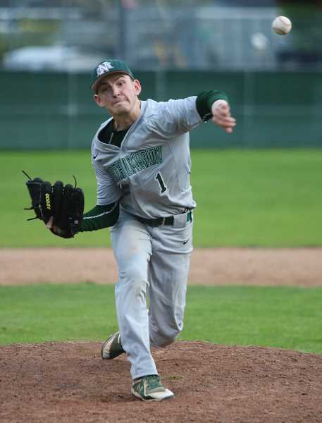PMG PHOTO: JIM BESEDA - North Marion's Ryan Olson took control of the mound against Gladstone.