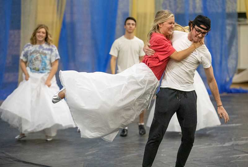 PMG PHOTO: JONATHAN HOUSE - Liv Roane and Jonathan Kelly practice dance moves during rehearsal for May Day.