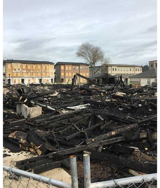 COURTESY PHOTO: CLACKAMAS COUNTY SHERIFF'S OFFICE - The condominium complex owned by Polygon Homes burned down in the middle of the night March 31.