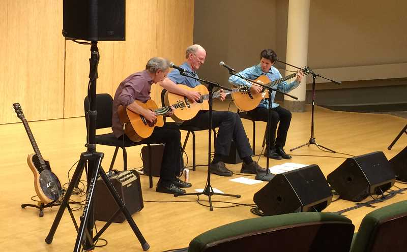 COURTESY PHOTO: MARK HANSON - Acoustic Guitar Summit is a guitar group featuring Mark Hanson, Tony Robb and Doug Smith. This year's performance features slack key guitarist, Jeff Peterson.