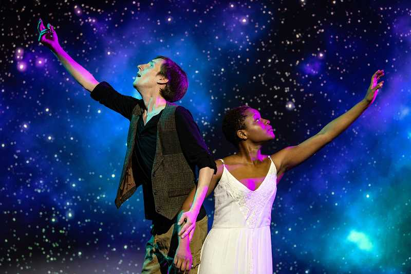 COURTESY PHOTO: BAG&BAGGAGE PRODUCTIONS - Phillip J. Berns and Kayla Kelly portray Peter Pan and Wendy Darling in Bag&Baggage Productions' 'Peter/Wendy' open on Thursday, May 2.