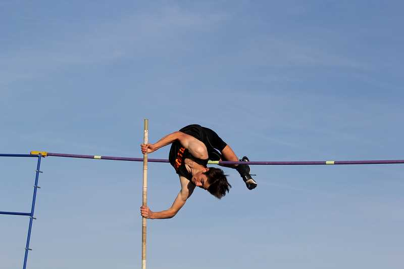 STEELE HAUGEN - Jordan ValAlstyne, of Culver,  places first in the pole vault tying Madras' Eric Boynton.