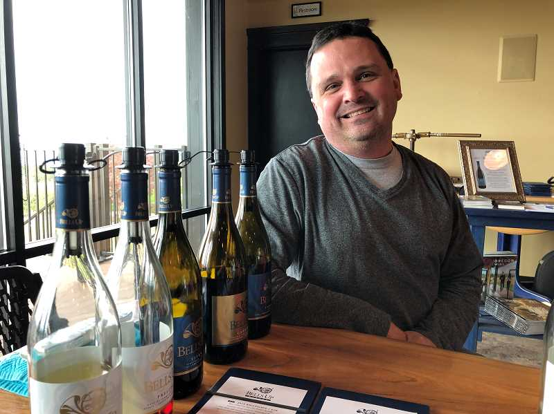 PMG PHOTO: BARB RANDALL  - Barb Randall got a jump on Oregon Wine Month — which runs through the month of May — by visiting Bells Up Winery in late April. She enjoys the wines made by winemaker Dave Specter.