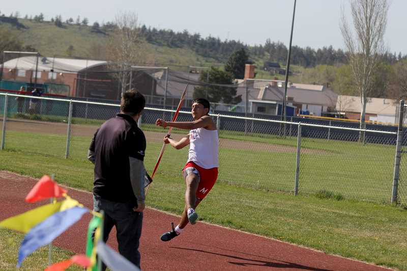 STEELE HAUGEN - Donnie Bagley, of Madras, places second in the javelin (149-00) and first in the discus (111-08).