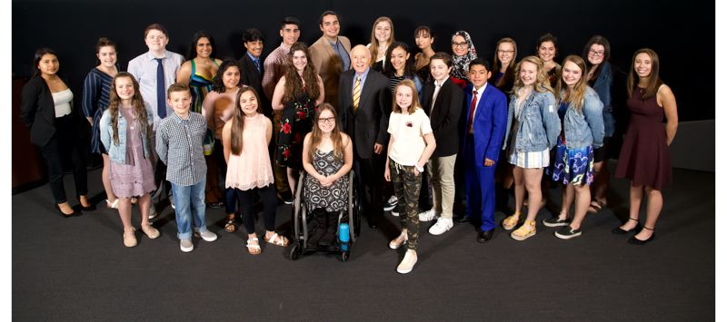 PMG PHOTO: JAIME VALDEZ - Twenty-eight teens from across the region were honored Monday, April 29, during Pamplin Media Group's Amazing Kids event. Dr. Robert Pamplin Jr., center, stood with students at the event at OMSI.