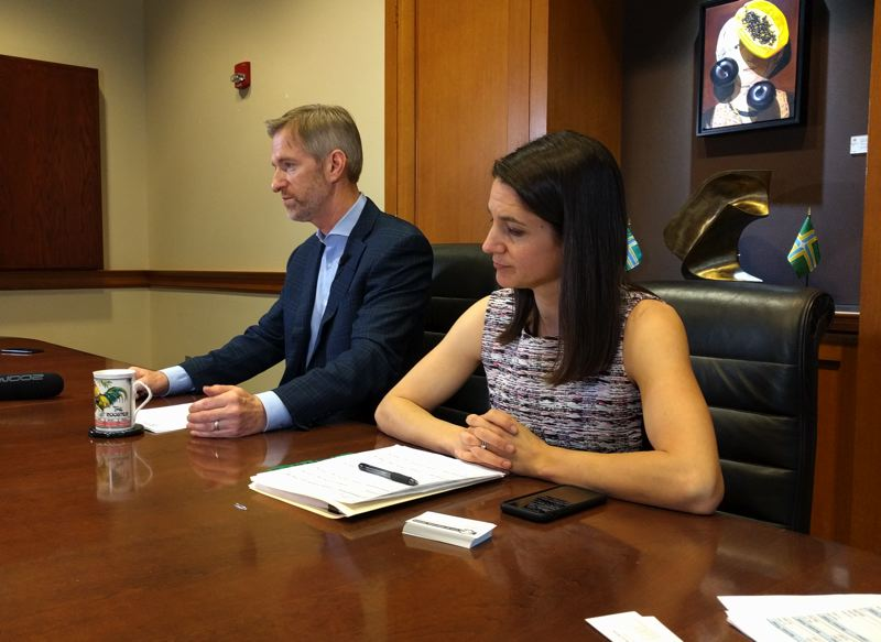 PMG PHOTO: JIM REDDEN - Mayor Ted Wheeler and Interim Budget Director Jessica Kincaid discuss the proposed budget during a Thursday afternoon press briefing.