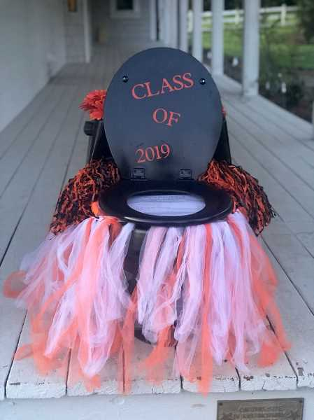 COURTESY PHOTO: LIZ NAUTA - The class of 2019 toilet is a good reminder that the fundraiser helps pay for this year's grad party.