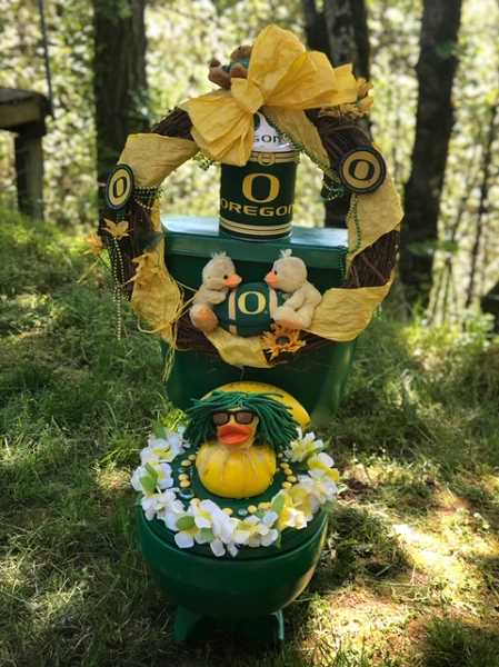 COURTESY PHOTO: LIZ NAUTA - One of the toilets is especially for those UO fans among us.