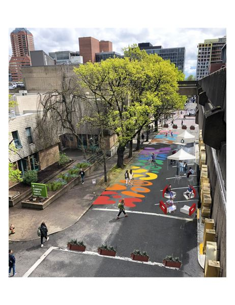COURTESY: PORTLAND STATE UNIVERSITY - A rendering of the Montgomery Pop-Up Plaza at Portland State University.