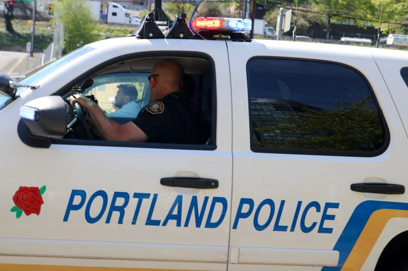 PMG PHOTO: ZANE SPARLING - The Portland Police Bureau sound truck is shown here on May Day, 2019.