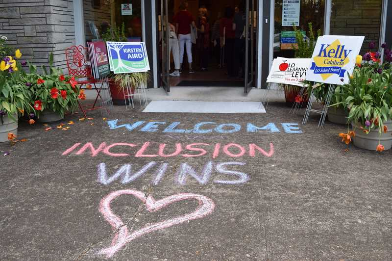 COURTESY PHOTO: ALANA KENT - Respond to Racism and LO for LOve volunteers created a welcoming entryway for candidates and community members.