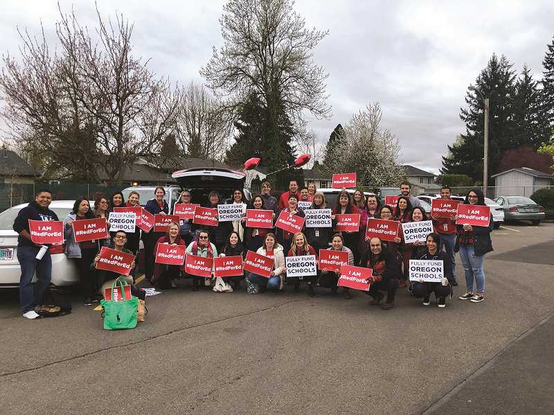 COURTESY OF WOODBURN EDUCATION ASSOCIATION - Woodburn Education Association members gather before attending a Presidents Day rally in February.