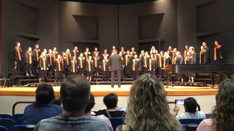 COURTESY PHOTO: HEATHER WALBURN JONES - The Molalla High School choir wins 4th at the OSAA 4A state championship on Tuesday, April 30.