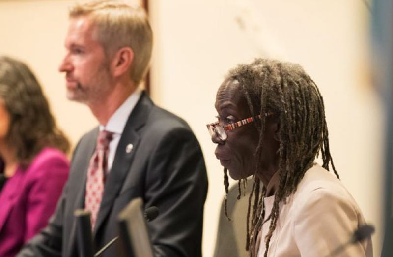 PMG FILE PHOTO - Mayor Ted wheeler and Commissioner Jo Ann Hardesty at a City Council meeting.