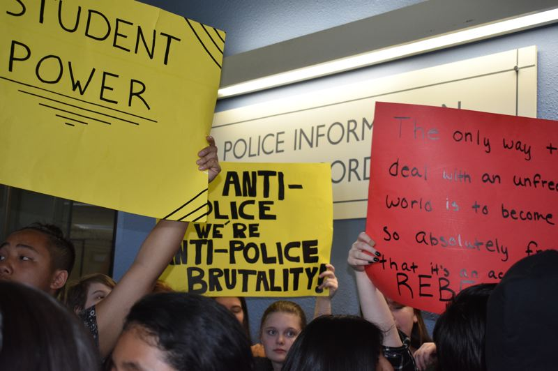 PMG PHOTO: TERESA CARSON - Gresham High students at the police department asking for a meeting.