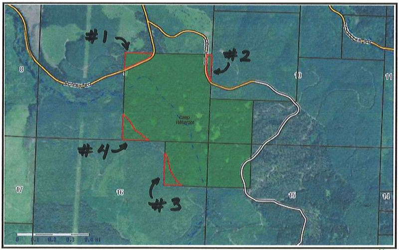 COLUMBIA COUNTY PARKS - A map included in proposal documents for the timber sale shows the regions of Camp Wilkerson where timber will be harvested.