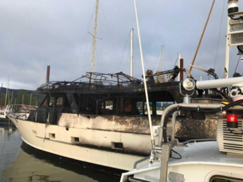 COURTESY PHOTO: SCAPPOOSE FIRE DISTRICT - Emergency crews were dispatched to a boat fire in Scappoose on Friday, May 3. The boat was destroyed in the blaze, but no injuries were reported. The cause is still under investigation.
