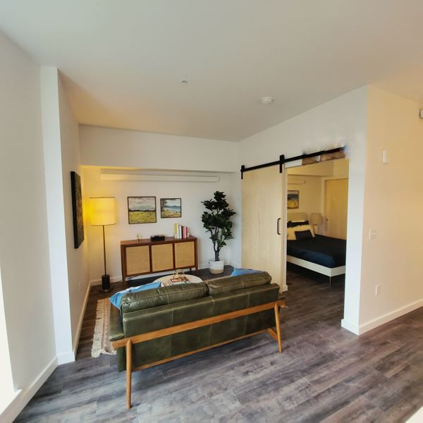 PHOTO: SHELSI LINDQUIST PHOTOGRAPHY - One-bedroom units in the Oro will range in price from $1,675 to $2,100 per month. Note the barn door and space for a Murphy bed.
