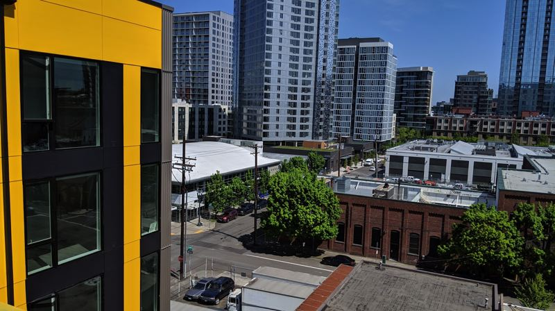 PMG PHOTO: JOSEPH GALLIVAN - The view east over the Pearl District from on the Oro apartments, which will open in the third week of May.