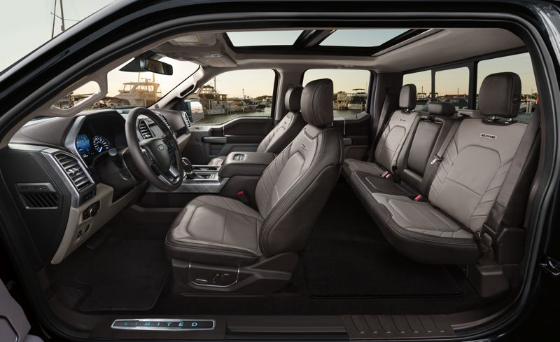 FORD MOTOR COMPANY - A custom view of the interior of the 2019 Ford F-150 Limited reveals the room and premium featues available in the Supercrew version.