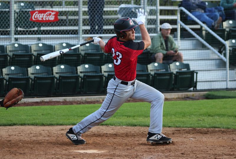 PMG PHOTO: JIM BESEDA - Jackson Jaha's two-run single for Clackamas capped a four-run sixth inning that helped carry the Cavaliers to a 6-1 Mt. Hood Conference win Friday over Central Catholic at Walker Stadium.
