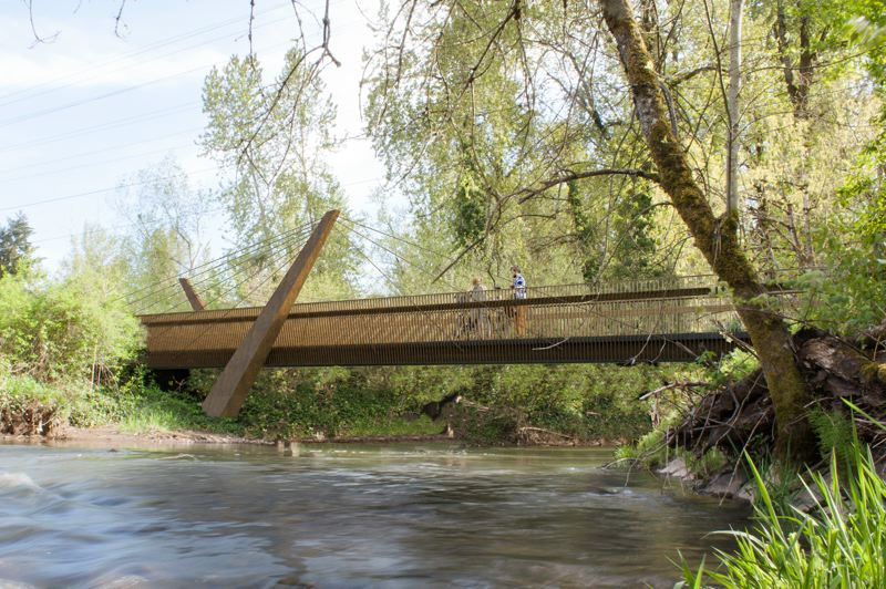 COURTESY - A rendering shows the new steel-and-concrete span to replace a railroad trestle bridge on the Springwater Corridor in Portland.