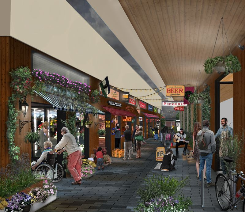 COURTESY: KAISER GROUP/PATH ARCHITECTURE - The Alley, a marketplace modeled on the yokocho alleys in Japan, will be open to the public and is designed to encourage pedstrians to move around and through the ground-floor area of The Canyons.