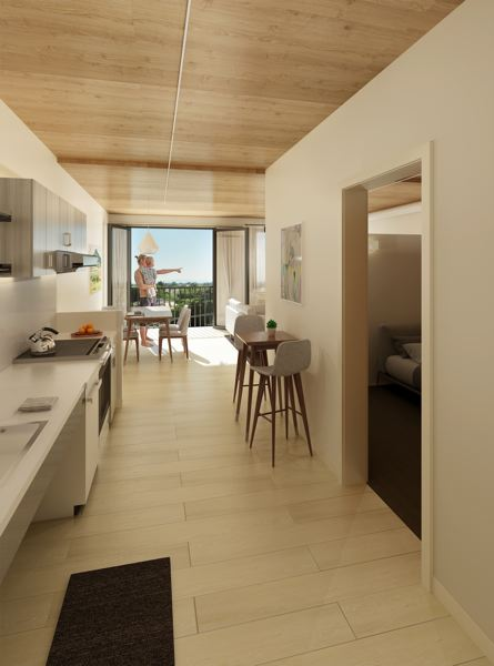 COURTESY: KAISER GROUP/PATH ARCHITECTURE - Units in the Canyons are designed to provide a no-barriers living experience, with design features such as adjustable-height countertops and curb-less showers.